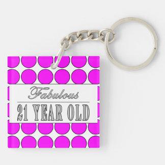 Fabulous Twenty One Year Old Pink Polka Dots Double-Sided Square Acrylic Keychain