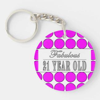 Fabulous Twenty One Year Old Pink Polka Dots Single-Sided Round Acrylic Key Ring