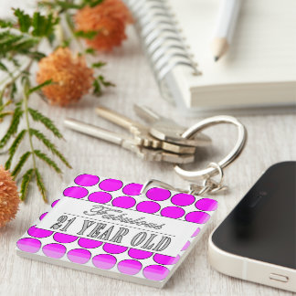 Fabulous Twenty One Year Old Pink Polka Dots Single-Sided Square Acrylic Key Ring