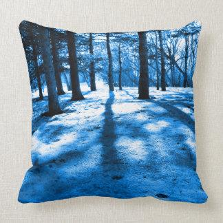 Fabulous Winter Blue Forest Trees Artsy Designer Throw Pillow