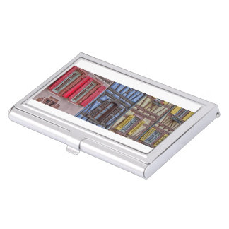 facade Alsatian houses of different colors Business Card Holder