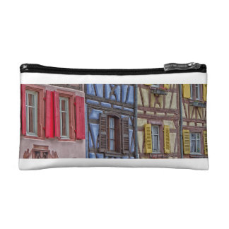 facade Alsatian houses of different colors Cosmetics Bags