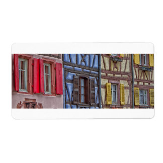 facade Alsatian houses of different colors Shipping Label