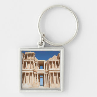 Facade And Stage Of Roman Amphitheater Silver-Colored Square Key Ring