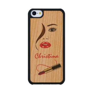 Face and Lipstick Carved® Wooden iPhone 5C Cases Cherry iPhone 5C Slim Case
