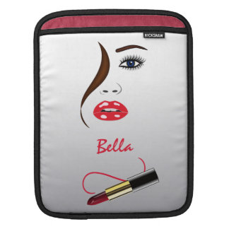 Face and Lipstick in Mirror iPad Sleeve Cover iPad Sleeve