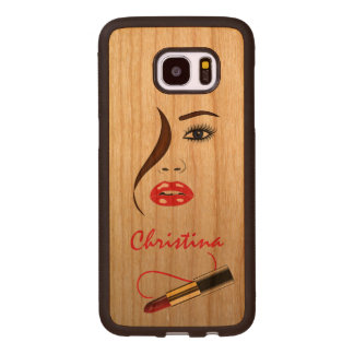 Face and Lipstick in the Mirror Makeup Artist Wood Wood Samsung Galaxy S7 Edge Case