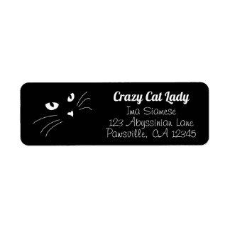 Face Black Cat Return Address Labels Personalized