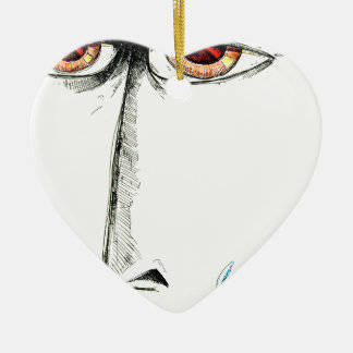 Face drawing sketch art handmade Double-Sided heart ceramic christmas ornament