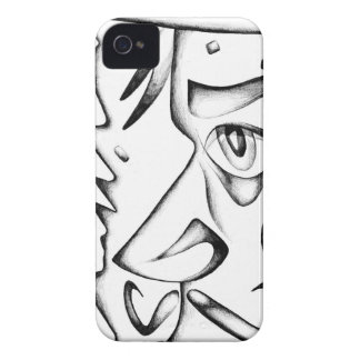 Face drawing sketch art handmade iPhone 4 cover