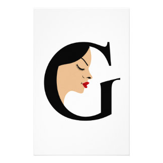 Face in alphabet G Personalised Stationery