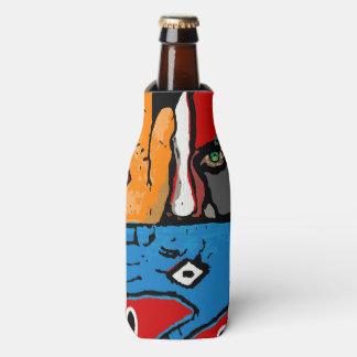 Face in blue and orange bottle cooler