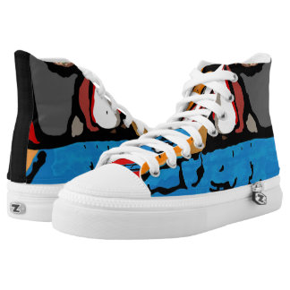 Face in blue and orange lace tennis shoes printed shoes