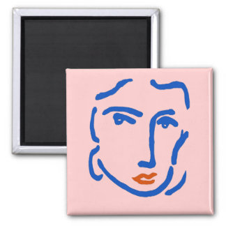 Face In Blue, Matisse Style Square Magnet