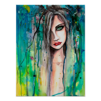 Face in Paint Abstract Fantasy Portrait 12 x 16 Poster