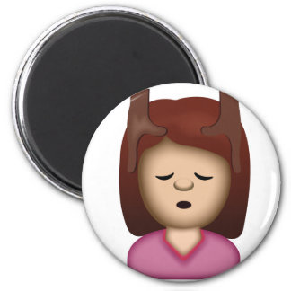 Face Massage Emoji 6 Cm Round Magnet