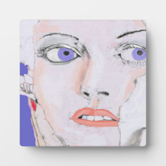 Face of a Girl with Blue Eyes Display Plaques