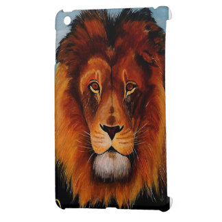 Face of a lion realistic painted cover for the iPad mini