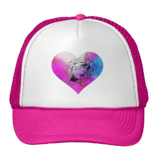 Face Of A Woman Portrait In Abstract Heart Cap