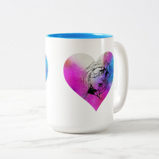 Face Of A Woman Portrait In Abstract Heart Two-Tone Coffee Mug