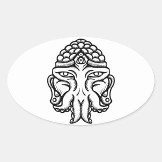 Face of Cthuda Oval Sticker