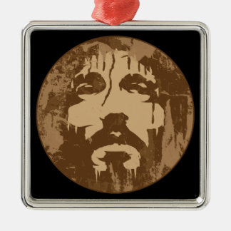 Face of Jesus Silver-Colored Square Decoration
