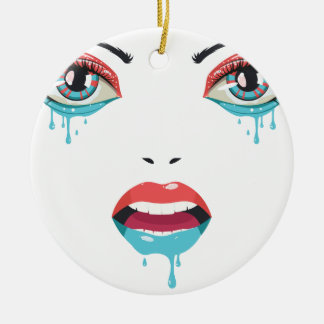 Face of Paint blue and red Round Ceramic Decoration