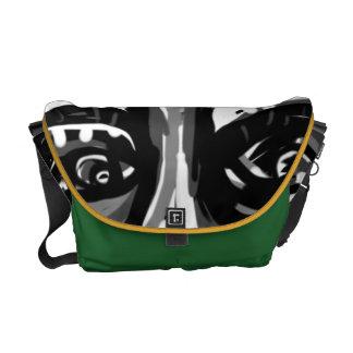 Face of Sanity Med Green-Yellow Messenger ART Courier Bag