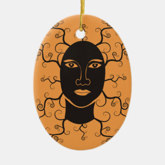 Face of the tree ceramic oval decoration