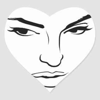Face of Woman Heart Sticker