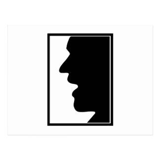 Face profile face side face post card