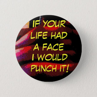 face punch 6 cm round badge