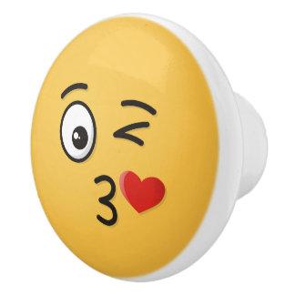 Face Throwing a Kiss Ceramic Knob