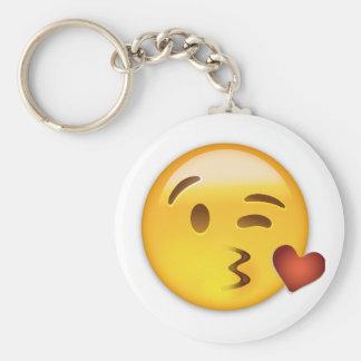 Face Throwing A Kiss Emoji Basic Round Button Key Ring