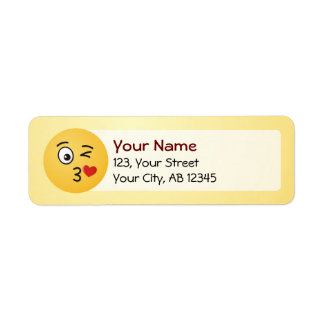 Face Throwing a Kiss Return Address Label