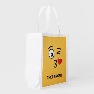Face Throwing a Kiss Reusable Grocery Bag