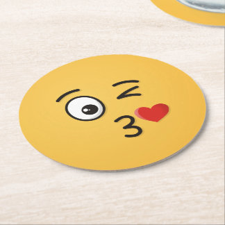 Face Throwing a Kiss Round Paper Coaster