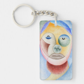 Face with circles key ring