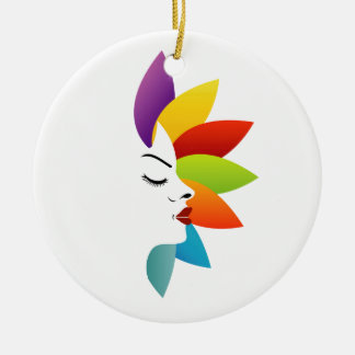 Face with colorful leaves ceramic ornament