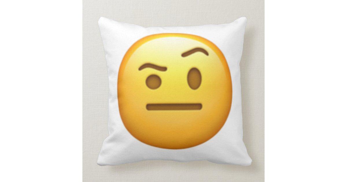 Face With One Eyebrow Raised Emoji Cushion Zazzle
