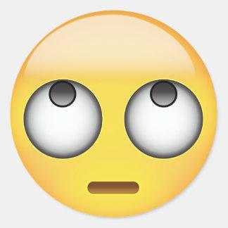 Face With Rolling Eyes Emoji Round Sticker