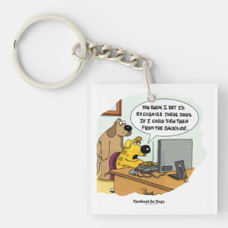 Facebook for Dogs Double-Sided Square Acrylic Key Ring