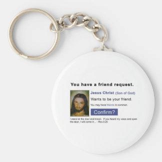 Facebook jesus basic round button key ring