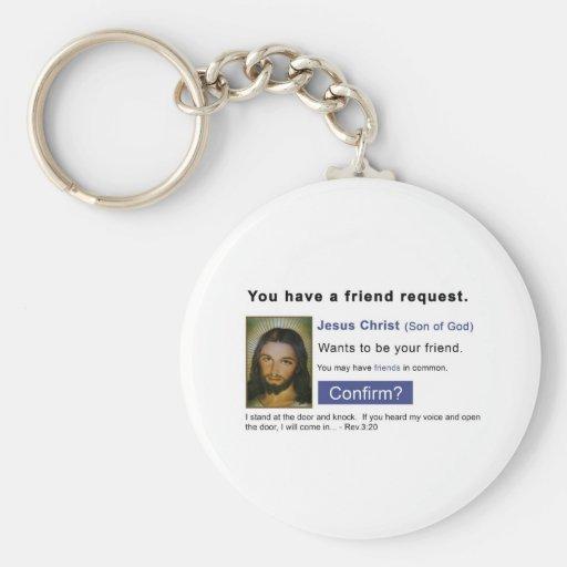 Facebook jesus key chain