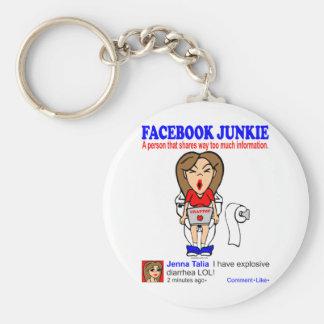 FACEBOOK JUNKIE BASIC ROUND BUTTON KEY RING