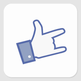 Facebook like You Rock thumb Rock and Roll icon Square Sticker