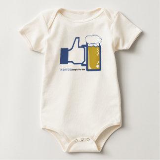 Facebook Parody Beer Thumbs Up - People Like This Baby Bodysuit