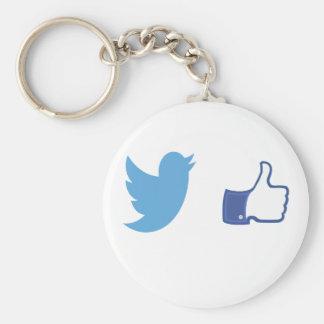 Facebook Twitter Basic Round Button Key Ring
