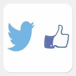 Facebook Twitter Square Sticker