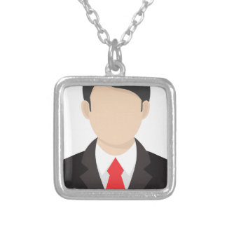 Faceless Man Silver Plated Necklace